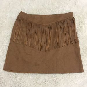 Dresses & Skirts - Faux Suede Fringed Mini Skirt